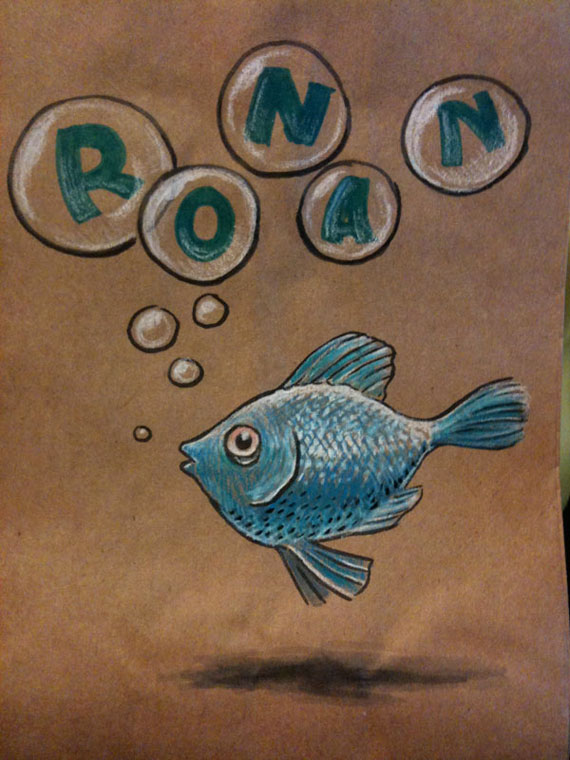 Fish on a lunchbag