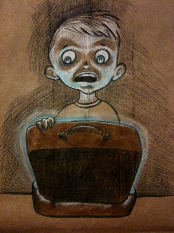 Illustration of Boy looking into glowing lunchbox on a lunchbag
