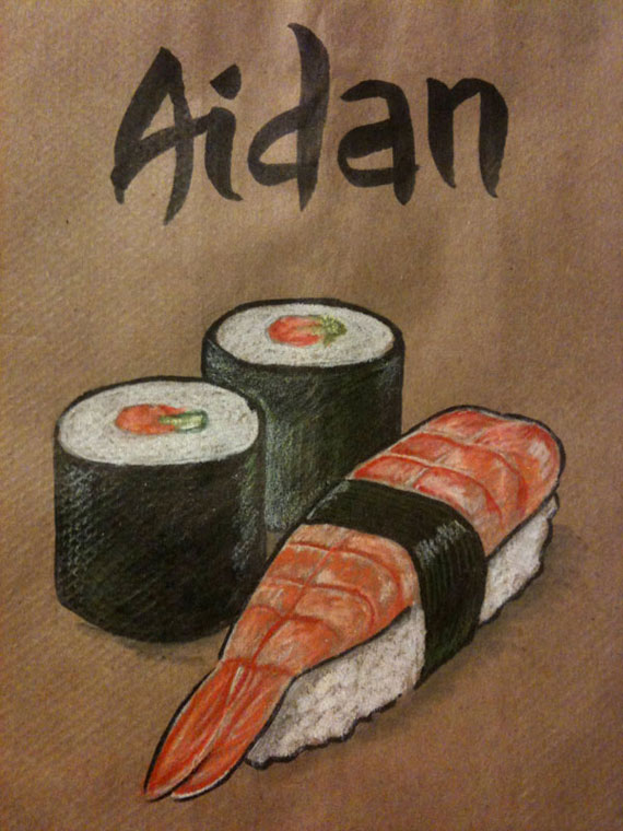 An illustration of a selection of sushi, on a lunchbag